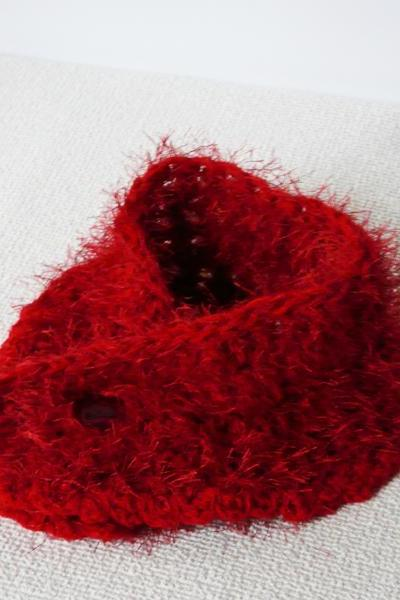 Red crocheted scarf fluffy red casual neckwarmer