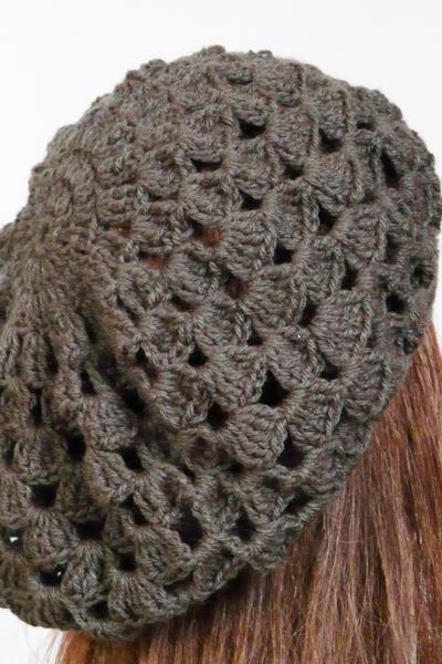 Grey crochet hat Women beret crochet lace hat cap