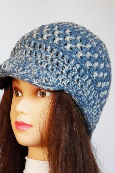 Blue grey unisex hat Crocheted newsboy plaid hat