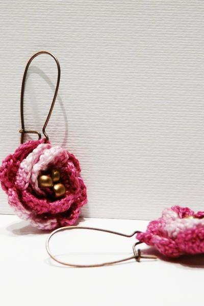 Pink crocheted earrings Charm rose earrings