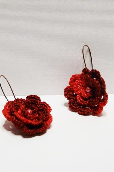 Red rose crocheted earrings