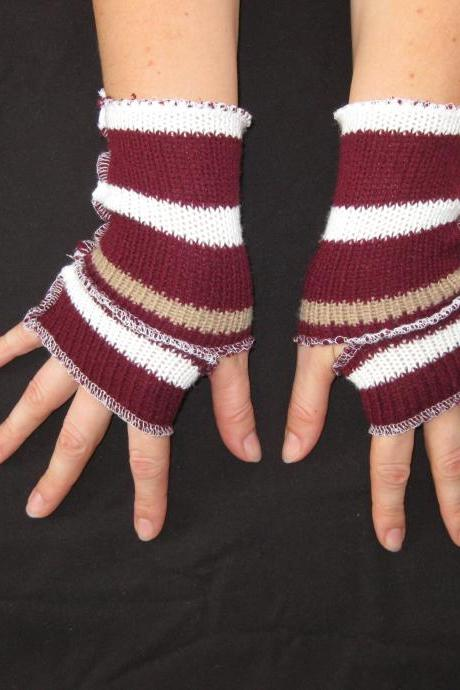 Fingerless Gloves Hand Warmers Reconstructed Mittens Burgundy White Brown Striped Size Extra Small / Small