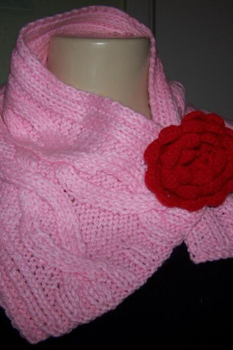 Hand knitted Pink Scarf/Neck warmer (FREE SHIPPING)