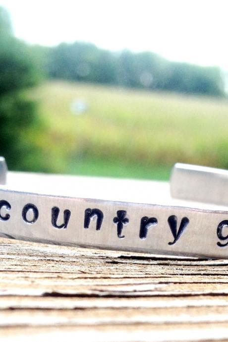 Country Girl Hand Stamped Bracelet