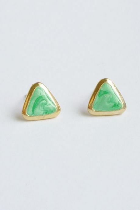 SALE - Pearl Green Triangle Stud Earrings - Gift under 10