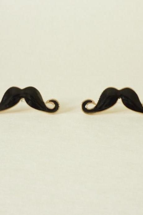 SALE 25 mm - Large Sexy Black Mustache Stud Earrings - Gift under 10