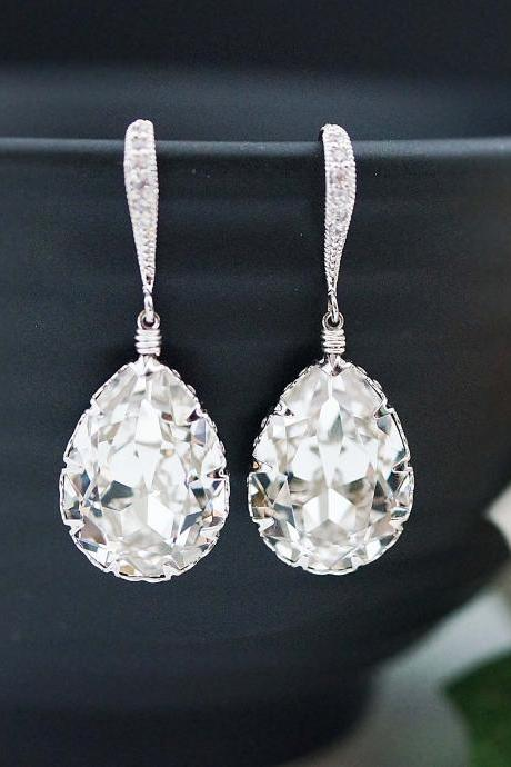 Wedding Jewelry Bridal Earrings Bridesmaid Earrings Dangle Earrings Clear White Swarovski Crystal Tear drop Earrings