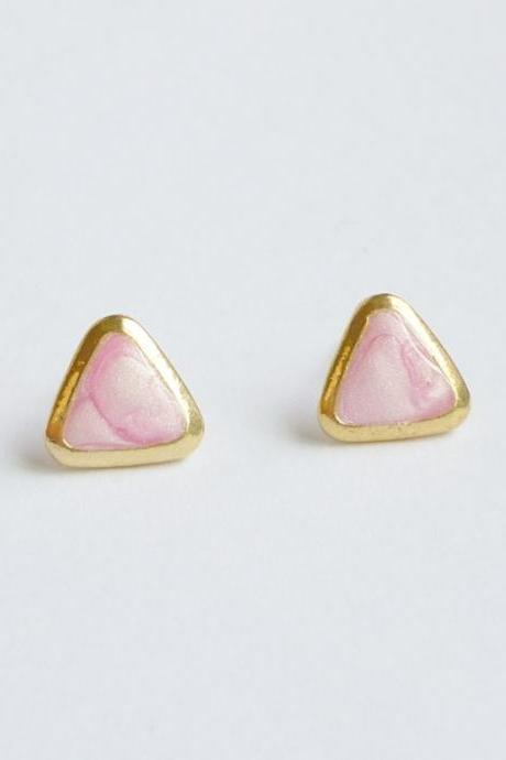 Pearl Pink Triangle Stud Earrings - Gift under 10