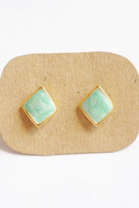 Bright Pearl Blue Rhombus Stud Earrings - 10 mm - Gift under 10