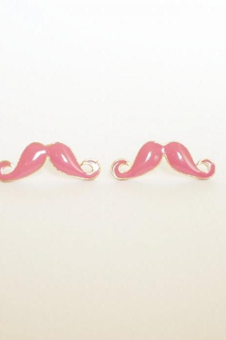 25 mm - Large Sexy Pink Mustache Stud Earrings - Gift under 10