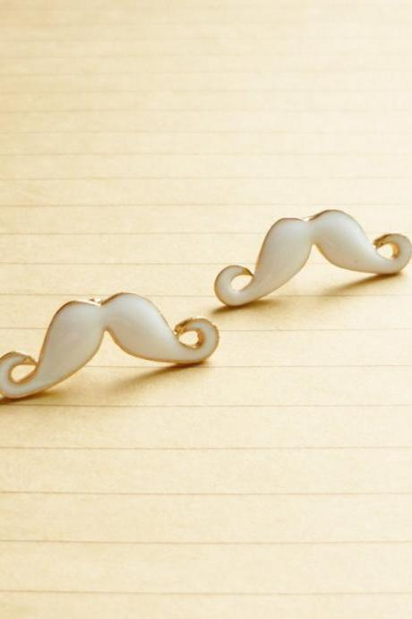 25 mm - Large Sexy White Mustache Stud Earrings - Gift under 10