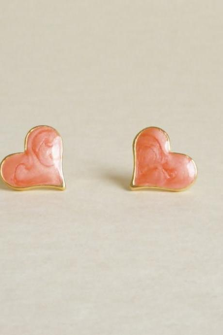 Large Sexy Pearl Orange Heart Stud Earrings - Gift under 10