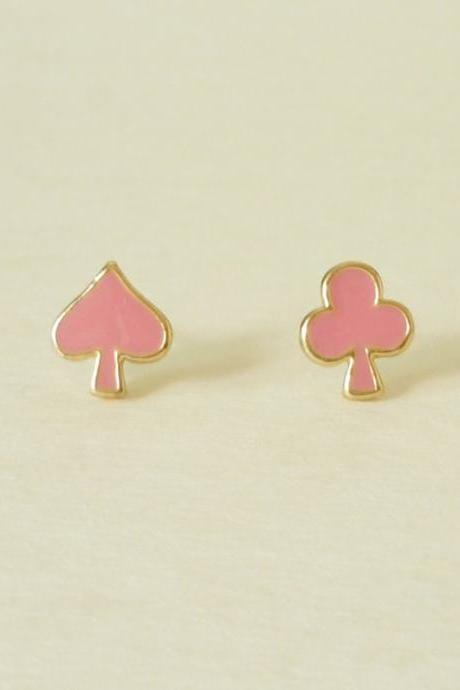 Let's Play Card - Spade and Club Peach Pink Gold Setting Ear Studs/Earring/Ear Posts