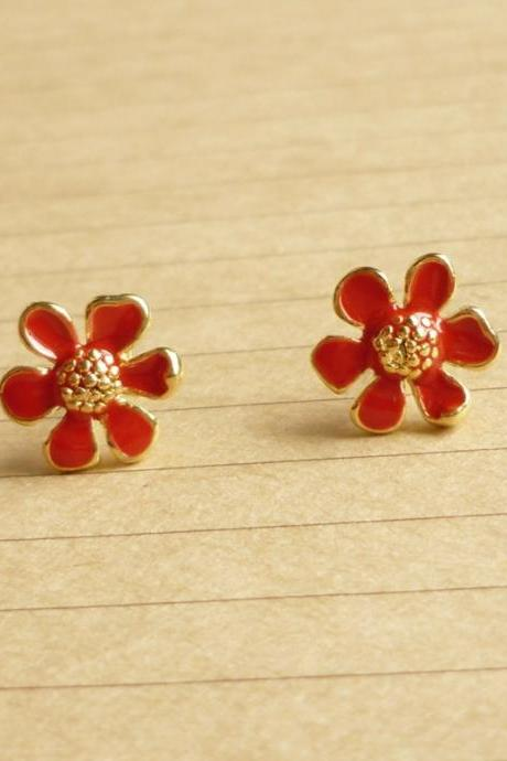 Lovely Red Flower Stud Earrings - Gift under 10