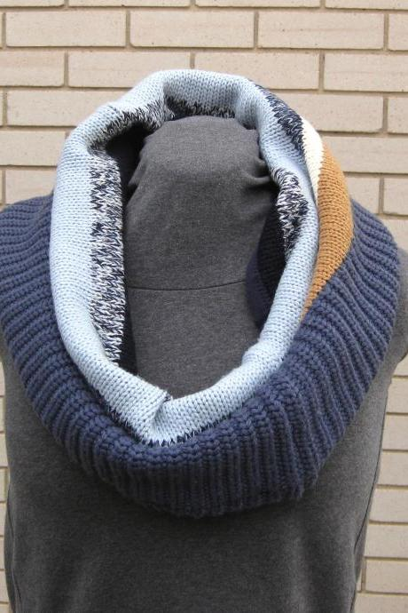 Women.s Cowl Neck Warmer Infinity Circle Scarf Upcycled Blue Brown White Stripes Winter Scarf Accessory