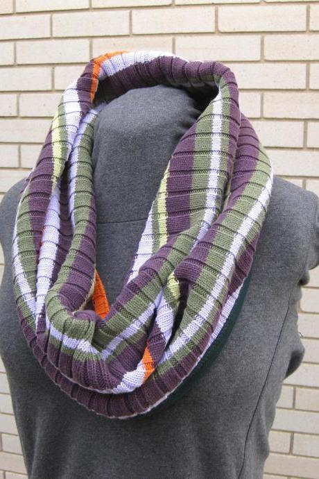 Sweater Cowl Women's Neck Warmer Circle Infinity Shawl Shrug Purple Green Orange Stripes Upcycled Winter Wear