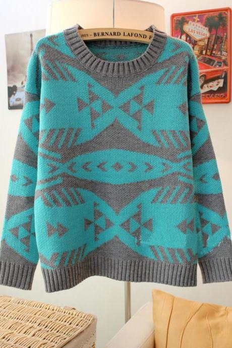 Blue Pop Art Geometric Abstract Fish Bones Pattern Sweater