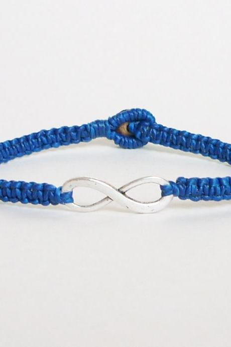 Navy Blue Infinity Bracelet - Simple Single Silver Infinity Sign/Eight woven with Navy Wax Cord Bracelet / Wristband - Men Jewelry - Unisex