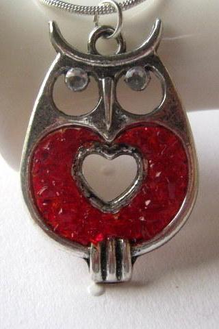 Valentine Necklace, Owl Necklace, Red Owl, Stained Glass Owl