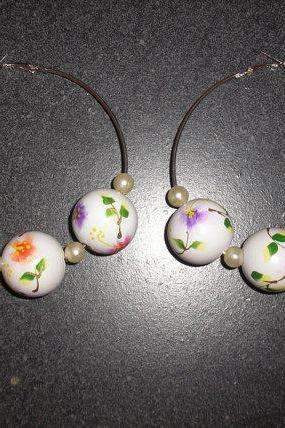 Hand Painted Wooden Beads (25mm) Earrings