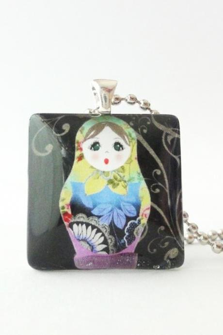 Matryoshka Nesting Dolls Russian 1 inch glass tile necklace