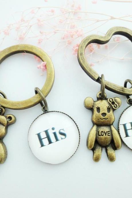 Couple Bears Keychains His Hers Glass Black White Handmade Gifts