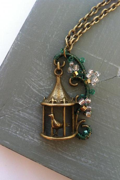 Song Bird - Antique bronze bird cage necklace