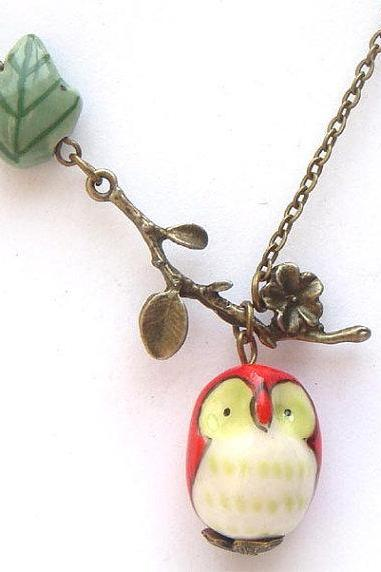 Antiqued Brass Branch Porcelain Owl Leaf Necklace