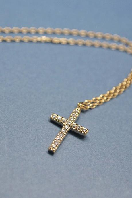 Rhinestone Cubic Zirconia Cross Necklace in gold