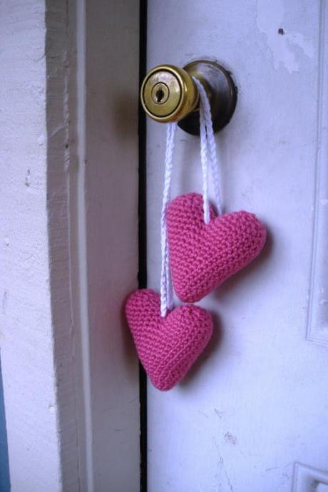 Plush Amigurumi Crochet Hanging Pink Valentine Heart Stuffies, ready to ship.