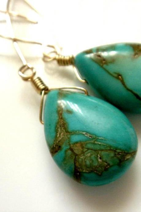 Imitation Turquoise 14k Gold Filled Earrings
