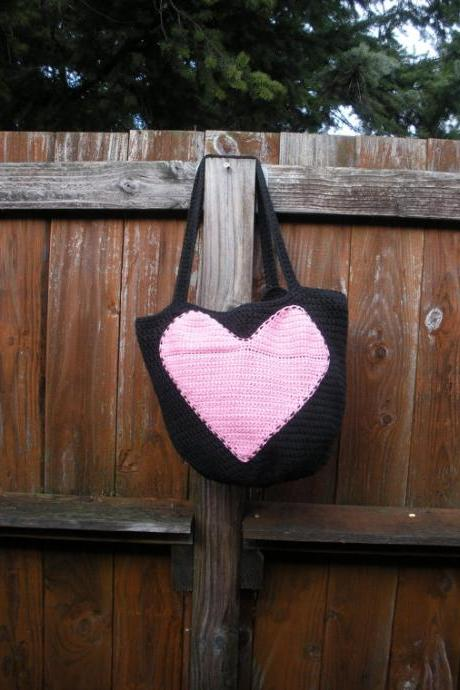 Cotton Crochet Reusable Shopping Bag Tote in Black with Pink Heart applique, ready to ship.