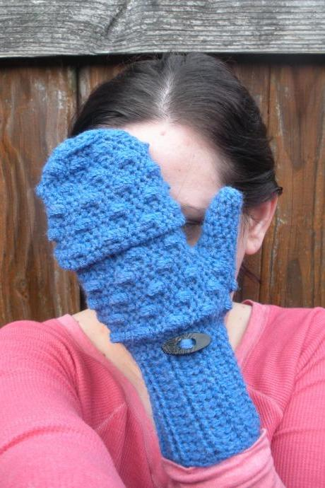 Convertible Mittens in Vibrant Blue, crochet fingerless mitten gloves, ready to ship.