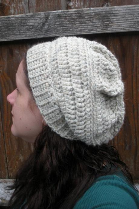 Chunky Crochet Slouch Hat in Oatmeal, ready to ship