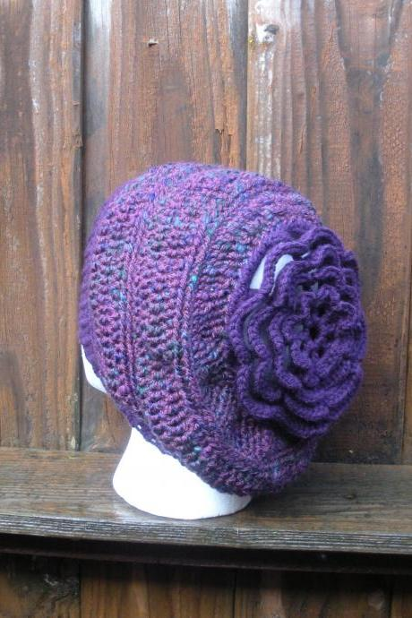 Hipster Slouch Hat crochet purple with color flecks and large flower, ready to ship.
