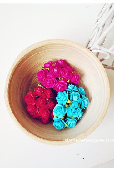 Mulberry mini Rose Buds paper flower mixed color / pack