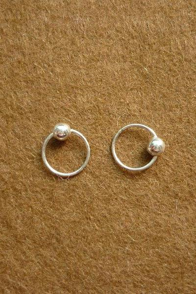 8 mm Tiny Silver Hoop Earrings with Ball - Captive Bead Rings - Cartilage Rings - Gift Under 10
