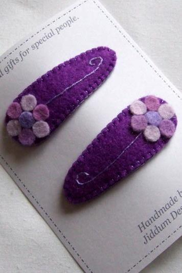 Purple Flower Baby Hair Clips