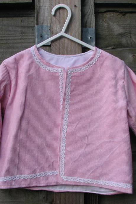 Baby girls pink cord jacket