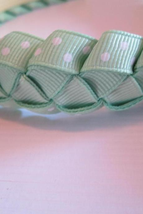 Mint green woven ribbon headband for girls