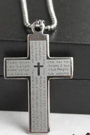 New Men's Cross Bible Stainless Steel Hot Cool Pendant Necklace