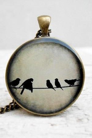 Love Birds Necklace Ivory Birds on Wire Necklace, Nature Bird Pendant, in Flight, Wings