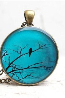 Bird Necklace Teal Pendant Photo Jewelry Made to Order