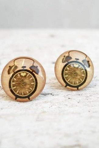 Clock Earrings Alarm Clock in Beige Brown-Green Ear Studs, Small Ear Posts Earrings