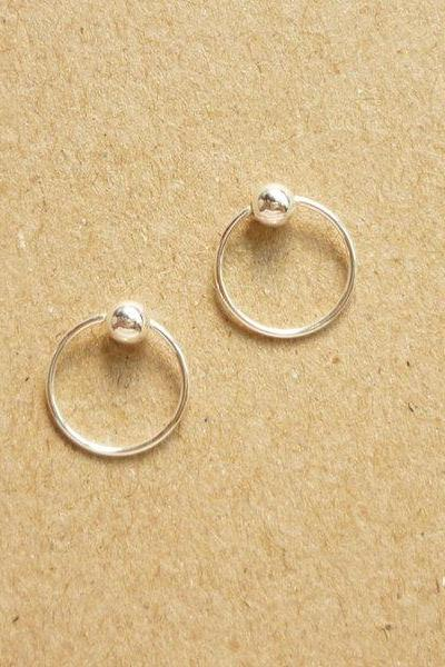 10 mm Tiny Silver Hoop Earrings with Ball - Captive Bead Rings - Cartilage Rings - Gift Under 10