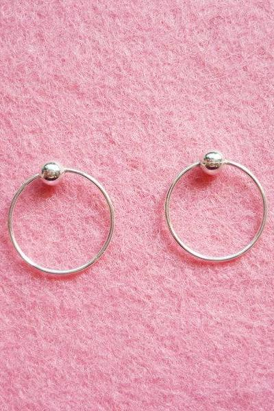 12 mm Tiny Silver Hoop Earrings with Ball - Captive Bead Rings - Cartilage Rings - Gift Under 10