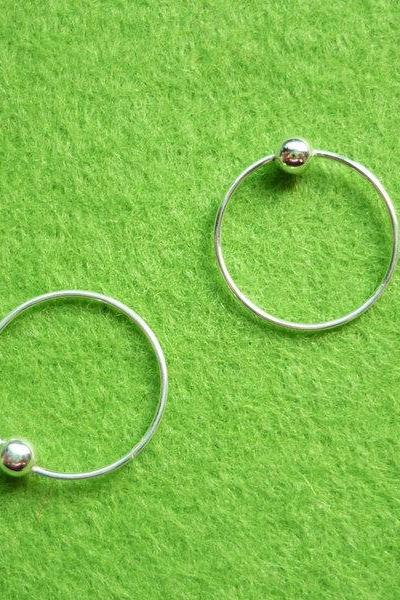 14 mm Tiny Silver Hoop Earrings with Ball - Captive Bead Rings - Cartilage Rings - Gift Under 10