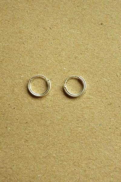 8 mm Hoop Earrings - 925 Sterling Silver Square Tube Hoop Earrings - Nose Hoop - Silver Round Hoop Hinged Earrings - Round Square Tube Hoop - Gift under 10