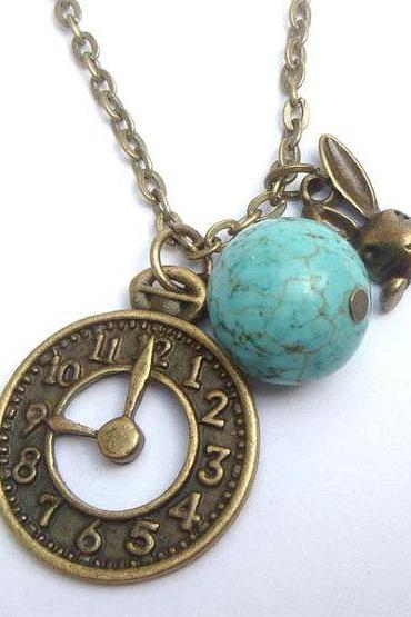 Antiqued Brass Clock Rabbit GreenTurquoise Necklace