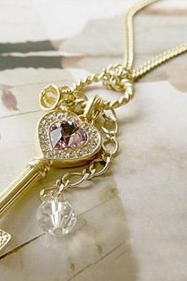Fashion Sweet Big Crystal Gem Rhinestone Key Crown Pendant Long Necklace Chain